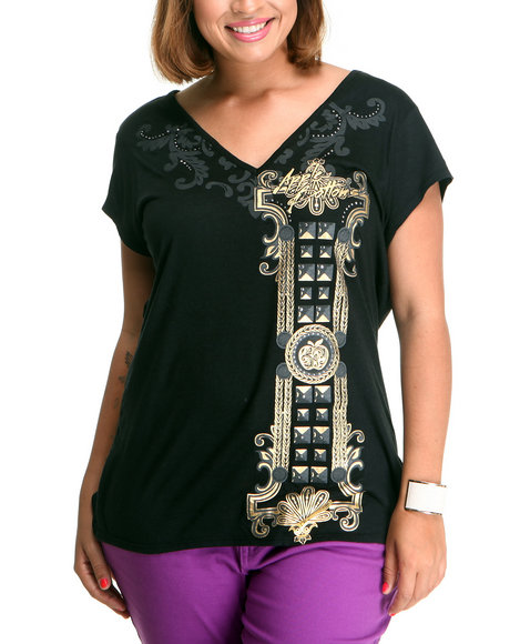 Apple Bottoms Women Black Double V Side Ruched Tee (Plus Size)