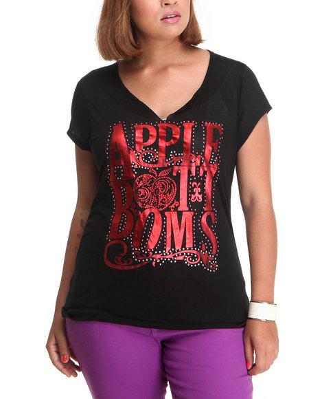 Apple Bottoms Women Black Split Scoop Neck Logo Tee