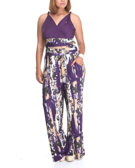 Apple Bottoms Women Purple All-Over Printed Sexy Jumpsuit (Plus Size)