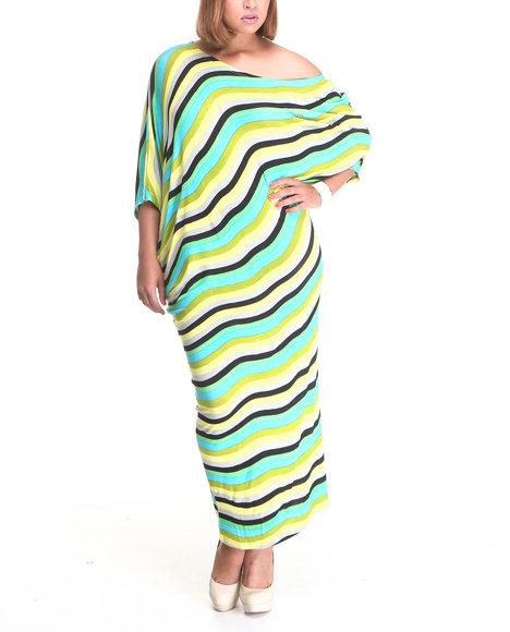 Apple Bottoms Women Teal Bias Cut Striped Maxi Dress (Plus Size)
