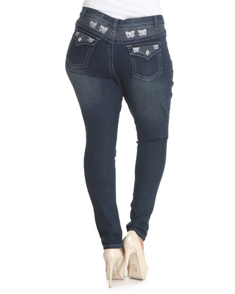 Basic Essentials Women Blue Blue Skinny Jeans With Embroidered Rhinestone Pockets (Plus)
