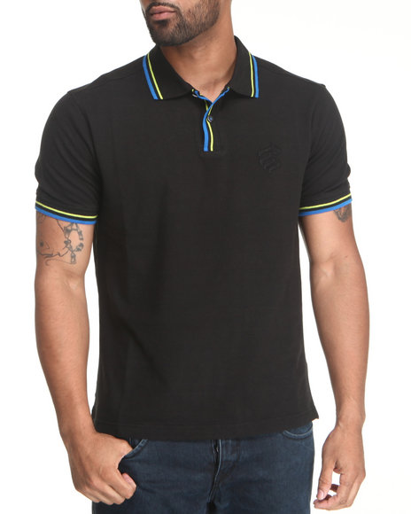 Rocawear Men Solid S/S Polo Black Medium