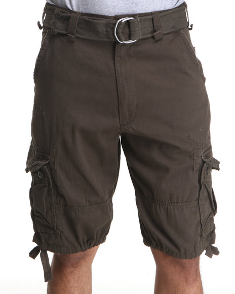 Basic Essentials Men Olive Fame Cargo Shorts With Belt