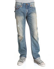 True Religion - Ricky Straight Leg Jeans w/ Back Flap Pckt - Bluestone / Red Super T
