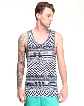 Shades of Grey by Micah Cohen - Blue Tribal Print Tank Top