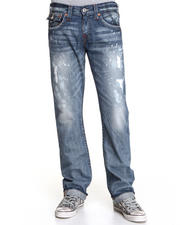 True Religion - Ricky Straight Leg Jeans w/ Back Flap Pckt - Black Water Wash