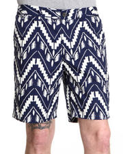 Shades of Grey by Micah Cohen - Navy Ikat Flat Front Short