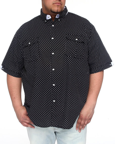 Basic Essentials Men Black Polka Dot Short Sleeve Woven Shirt