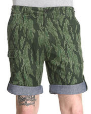 Men - Convertible Green Tiger Stripe Short w/ Chambray Cuff