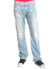 True Religion - Ricky Straight Leg Jeans w/ Back Flap Pckt - Bandana Detail