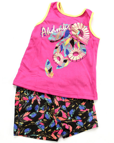 Akademiks - Girls Pink 2 Pc Set- Top & Shorts (4-6X)