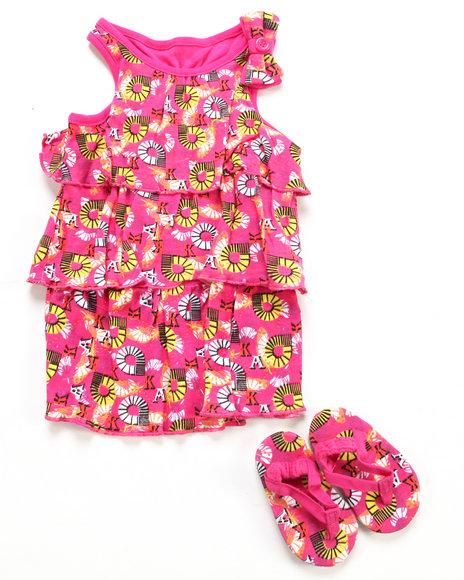 Akademiks Girls Pink 2 Pc Set - Dress & Shoes (Newborn)
