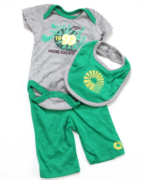 Akademiks Boys Light Grey 3 Pc Set - Bodysuit, Pants & Bib (Newborn)