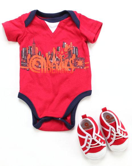 Akademiks Boys Red 2 Pc Set - Bodysuit & Sneaker (Newborn)