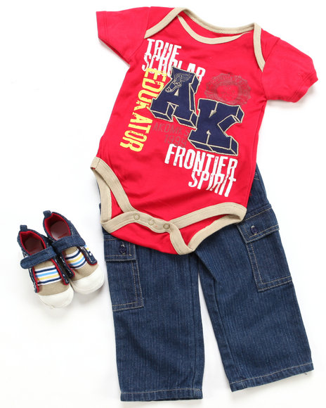 Arcade Styles Boys Red 3 Pc Set - Bodysuit, Pant & Sneaker (Infant)