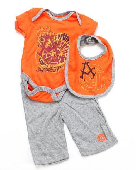 Akademiks Boys Orange 3 Pc Set - Bodysuit, Pants & Bib (Newborn)