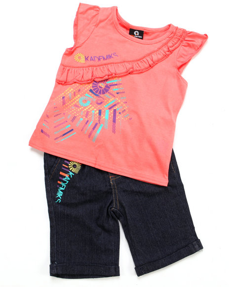 Akademiks Girls Orange 2 Pc Set- Top & Bermuda Shorts (4-6X)