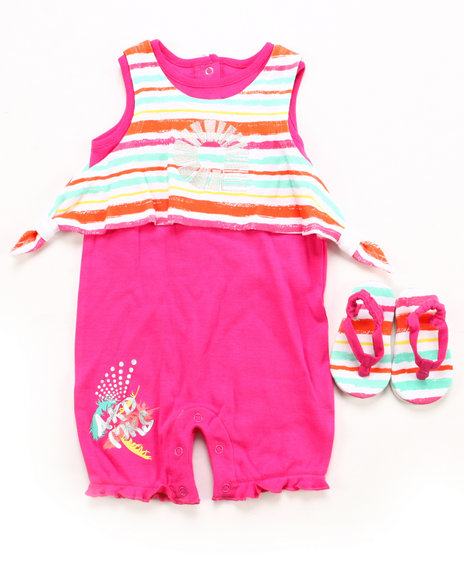 Akademiks - Girls Pink 2 Pc Set - Romper & Shoes (