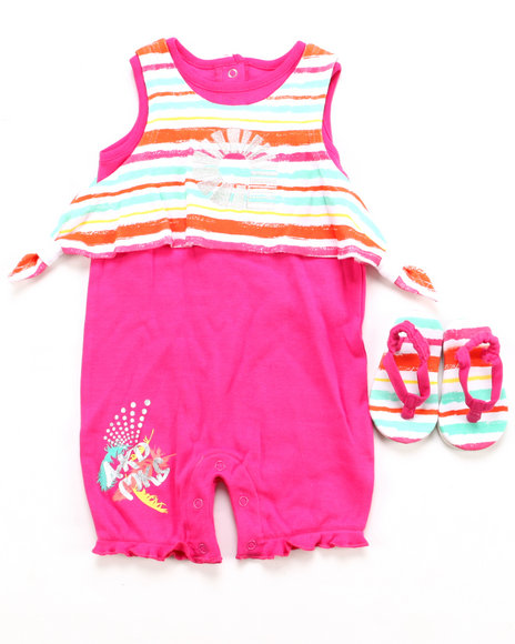 Akademiks - Girls Pink 2 Pc Set - Romper & Shoes (Infant)
