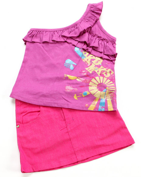 Akademiks - Girls Pink, Purple 2 Pc Set - Top & Skirt (4-6X)
