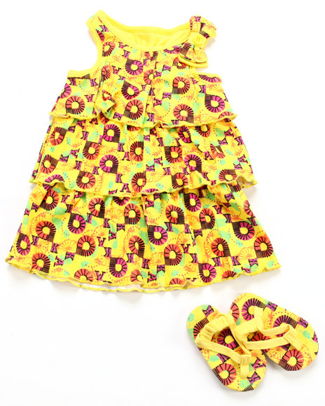 Akademiks Girls Yellow 2 Pc Set - Dress & Shoes (Infant)