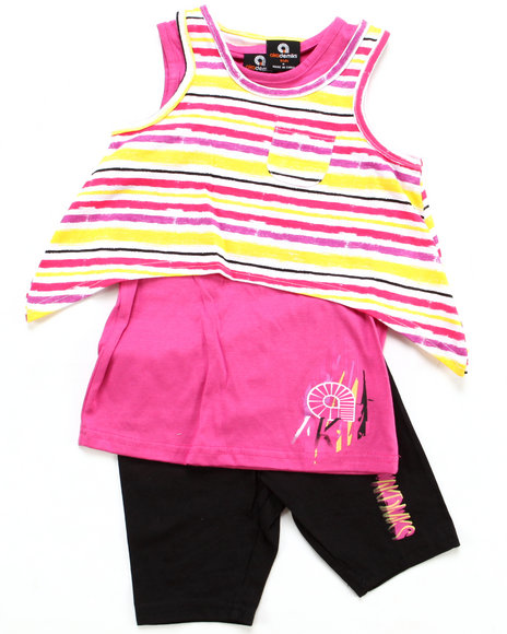Akademiks - Girls Pink 2 Pc Set - Top & Leggings (4-6X)
