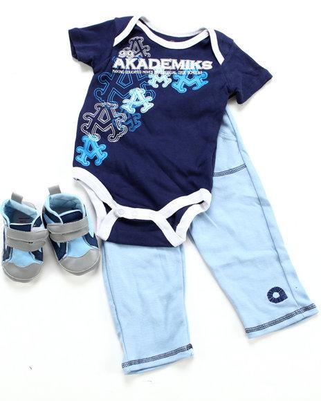 Akademiks Boys Navy 3 Pc Set - Bodysuit, Pant & Sneaker (Infant)