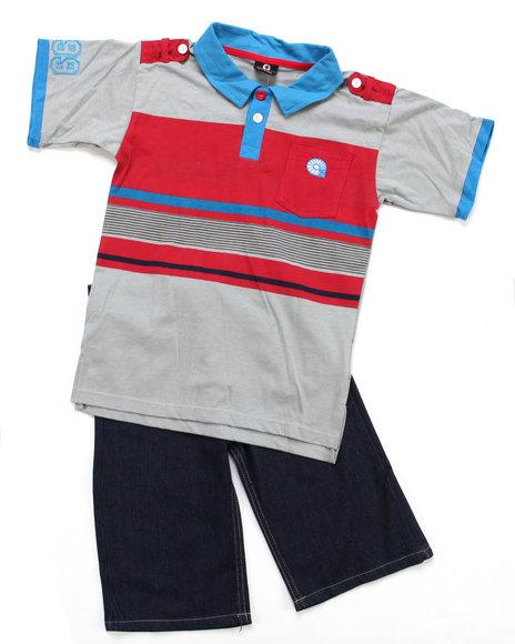 Akademiks Boys Grey,Red 2 Pc Set - Polo & Shorts (8-20)