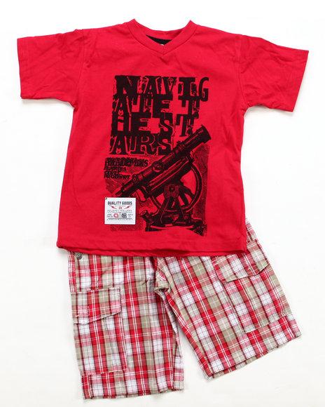 Akademiks Boys Red 2 Pc Set - Tee & Shorts (4-7)