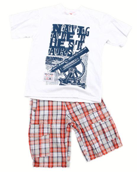Akademiks - Boys White 2 Pc Set - Tee & Shorts (4-7)
