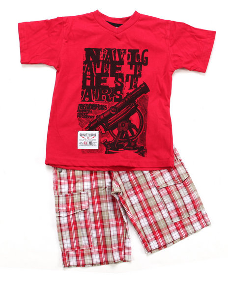Akademiks - Boys Red 2 Pc Set - Tee & Shorts (8-20)