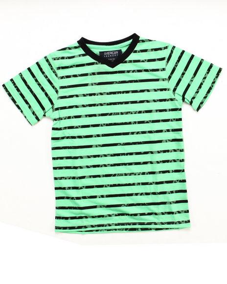 Arcade Styles - Boys Green V-Neck Striped Tee (8-20) - $4.99