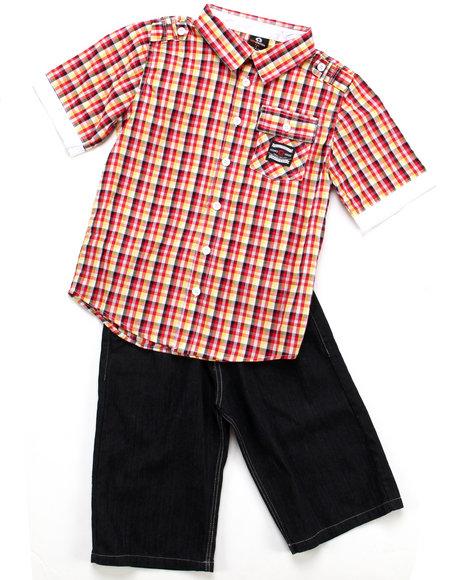 Akademiks Boys Red 2 Pc Set - Woven & Shorts (8-20)