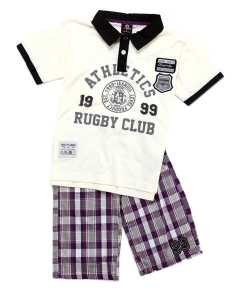 Akademiks Boys Beige 2 Pc Set - Polo & Shorts (8-20)
