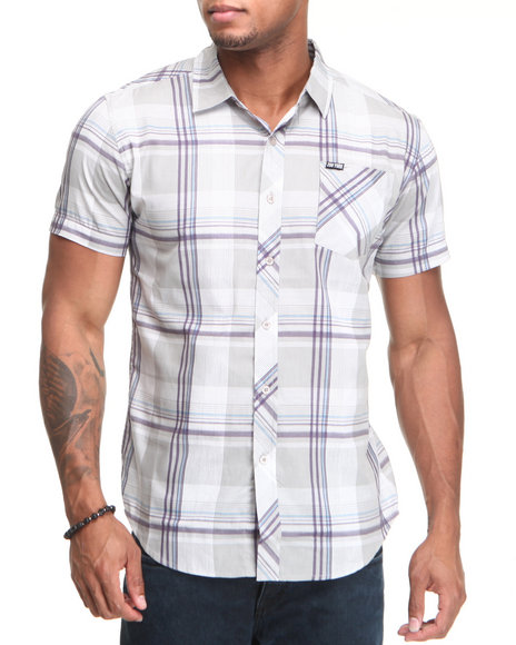 Zoo York Men Grey Bronxville Poplin S/S Button Down Shirt