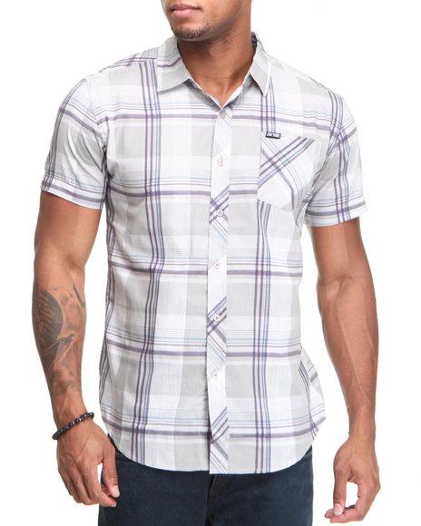 Zoo York Men Grey Bronxville Poplin S/S Button Down Shirt