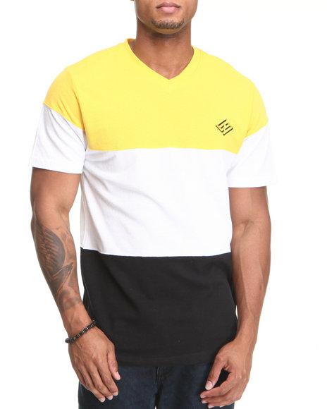Enyce Men Black,White,Yellow Color Block T-Shirt