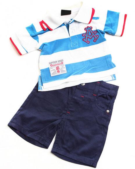 Akademiks Boys Blue 2 Pc Set - Polo & Shorts (Newborn)