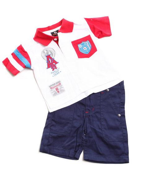 Akademiks Boys Red 2 Pc Set - Polo & Shorts (Infant)