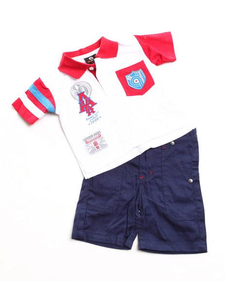 Akademiks Boys Red 2 Pc Set - Polo & Shorts (2T-4T)
