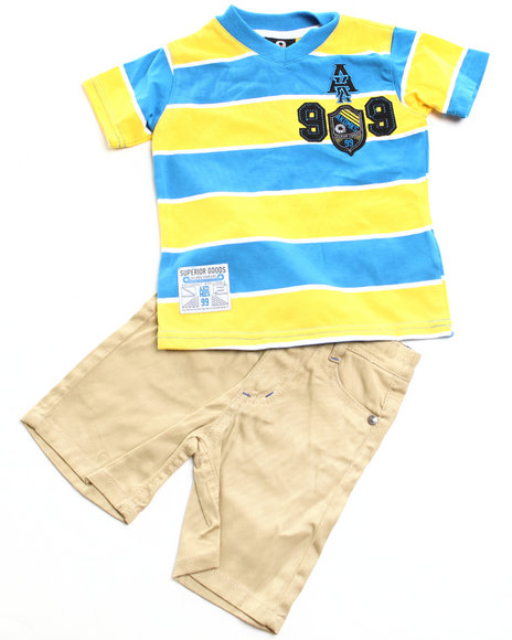 Akademiks Boys Blue,Yellow 2 Pc Set - V Neck Tee & Shorts (Newborn)
