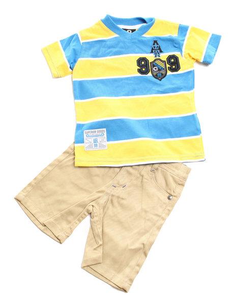 Akademiks Boys Blue 2 Pc Set - V Neck Tee & Shorts (2T-4T)