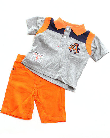 Akademiks - Boys Orange 2 Pc Set - Polo & Plaid Shorts (Newborn)