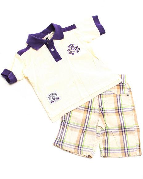 Akademiks Boys Purple 2 Pc Set - Polo & Plaid Shorts (2T-4T)