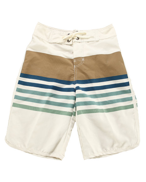 Lucky Brand - Boys Beige Striped Supplex Board Short (8-20)