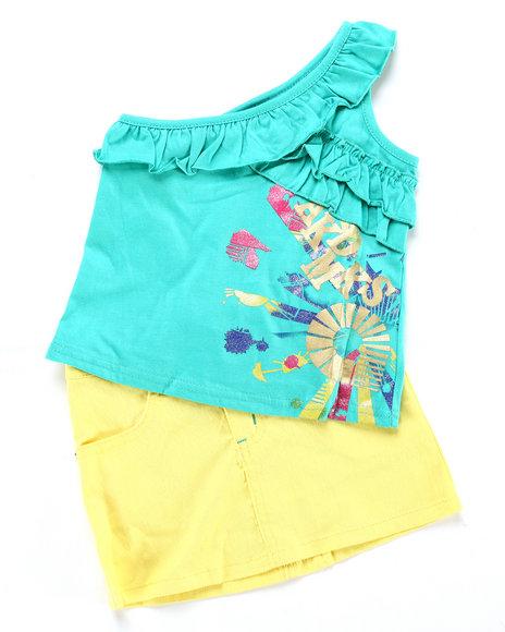 Akademiks Girls Teal,Yellow 2 Pc Set - Top & Skirt (4-6X)