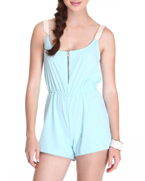 Fashion Lab - The Conrad Romper w/contrast shoulder straps zipper