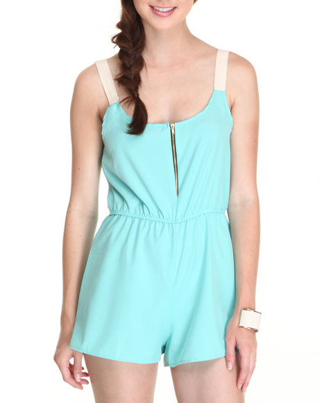 Fashion Lab - Women Teal The Conrad Romper W/Contrast Shoulder Straps Zipper