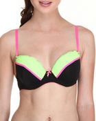 XOXO - Mesh Lace Bungee Straps Push-up Neon Trim Bra