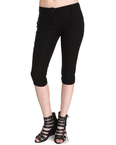 Fashion Lab - Women Black Kim 2-Button Capri